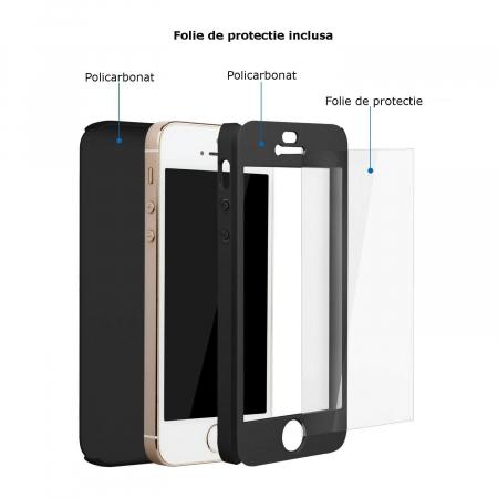 Husa Apple iPhone 5/5S Full Cover 360 Grade Neagra Ipaky1