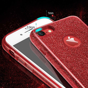 Husa Apple iPhone 7 / iPhone 8 Sclipici Carcasa Spate Rosu Silicon TPU2