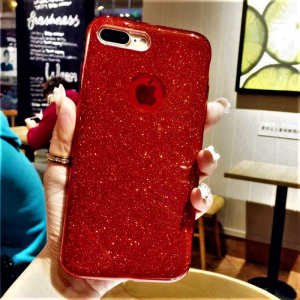 Husa Apple iPhone 7 / iPhone 8 Sclipici Carcasa Spate Rosu Silicon TPU6