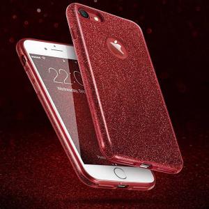 Husa Apple iPhone 7 / iPhone 8 Sclipici Carcasa Spate Rosu Silicon TPU4