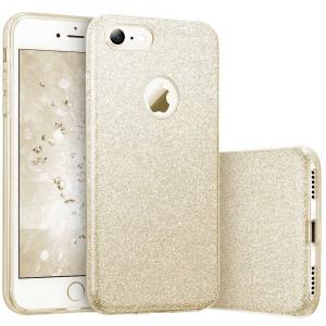 Husa Apple iPhone 7 Plus / iPhone 8 Plus Sclipici Carcasa Spate Auriu Gold Silicon TPU0