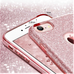 Husa Apple iPhone 7 Plus / iPhone 8 Plus Sclipici Roz Silicon2