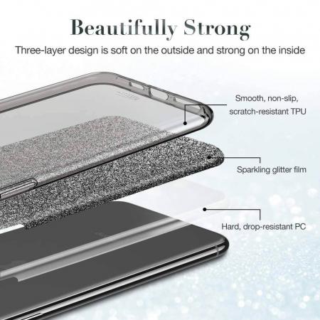 Husa Apple iPhone 7 Plus Sclipici Carcasa Spate Argintiu Silicon TPU [1]