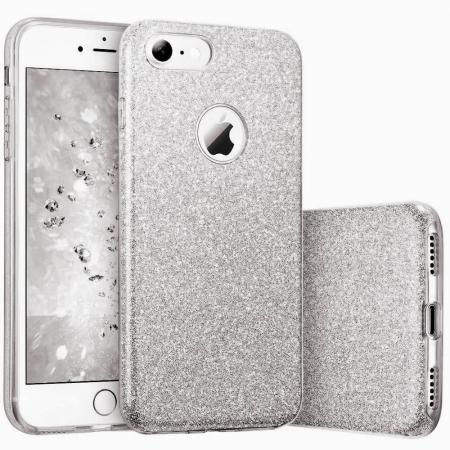 Husa Apple iPhone 8 Plus Sclipici Carcasa Spate Argintiu Silicon TPU [0]