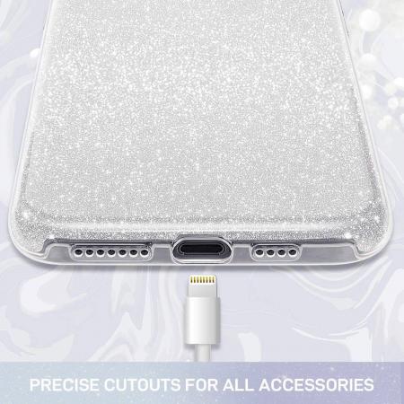 Husa Apple iPhone 8 Plus Sclipici Carcasa Spate Argintiu Silicon TPU [1]