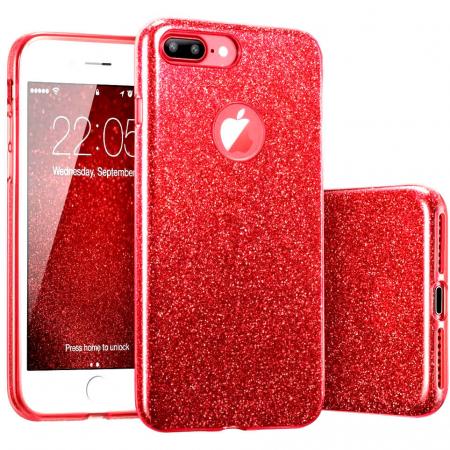 Husa Apple iPhone 8 Plus Sclipici Carcasa Spate Rosu Silicon TPU [0]