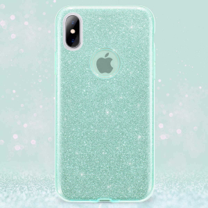 Husa Apple iPhone X / iPhone XS Sclipici Verde Silicon1