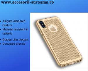 Husa Apple iPhone X / XS Carcasa Spate Perforata Auriu Gold0