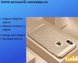 Husa Apple iPhone X / XS Carcasa Spate Perforata Auriu Gold1