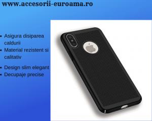 Husa Apple iPhone X / XS Carcasa Spate Perforata Negru0