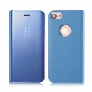 Husa iPhone 7 / 8 Clear View Flip Standing Cover (Oglinda) Albastru (Blue)2