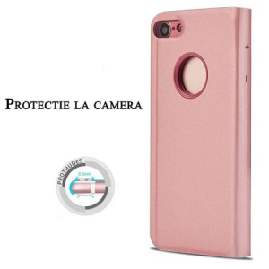 Husa iPhone 6 / 6S Clear View Flip Standing Cover (Oglinda) Roz (Rose Gold)1