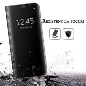 Husa iPhone 7 Plus / 8 Plus Clear View Flip Standing Cover (Oglinda) Negru (Black)3