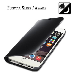 Husa iPhone 6 Clear View Flip Standing Cover (Oglinda) Negru (Black)2