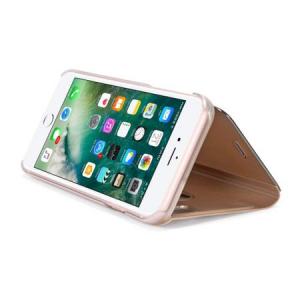 Husa iPhone X / XS  Clear View Flip Standing Cover (Oglinda) Auriu (Gold)1