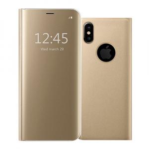 Husa iPhone X / XS  Clear View Flip Standing Cover (Oglinda) Auriu (Gold)0