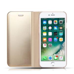 Husa iPhone X / XS  Clear View Flip Standing Cover (Oglinda) Auriu (Gold)2