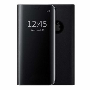 Husa iPhone X / XS  Clear View Flip Standing Cover (Oglinda) Negru (Black)1