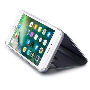 Husa iPhone X / XS  Clear View Flip Standing Cover (Oglinda) Negru (Black)3