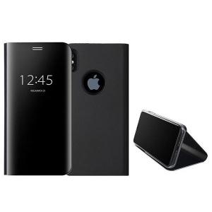 Husa iPhone X / XS  Clear View Flip Standing Cover (Oglinda) Negru (Black)