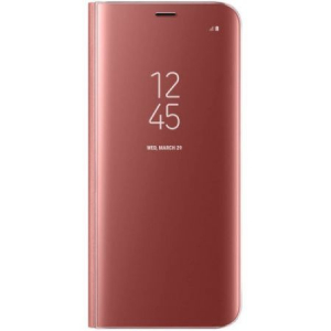 Husa Samsung Galaxy S6 Edge Clear View Flip Standing Cover (Oglinda) Roz (Rose Gold)