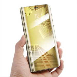 Husa Samsung Galaxy A5 / A8 2018 Clear View Flip Standing Cover (Oglinda) Auriu (Gold)1