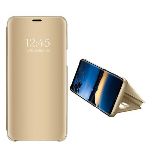 Husa Samsung Galaxy A7 2018 Clear View Flip Standing Cover (Oglinda) Auriu (Gold)1