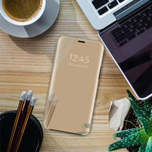 Husa Samsung Galaxy A7 2018 Clear View Flip Standing Cover (Oglinda) Auriu (Gold)4