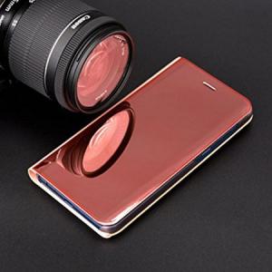 Husa Samsung Galaxy A5 / A8 2018 Clear View Flip Standing Cover (Oglinda) Roz (Rose Gold)