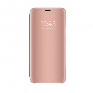 Husa Samsung Galaxy J6 Plus (+) 2018 Clear View Flip Standing Cover (Oglinda) Roz (Rose Gold)0