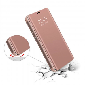 Husa Samsung Galaxy J4+ (J4 Plus) 2018 Clear View Flip Standing Cover (Oglinda) Roz (Rose Gold)