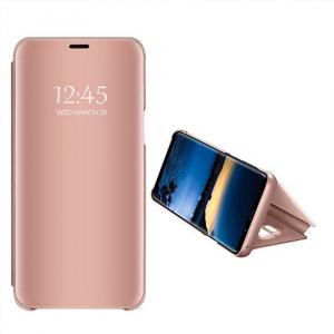 Husa Samsung Galaxy A6 Plus (2018) Clear View Flip Standing Cover (Oglinda) Roz (Rose Gold)