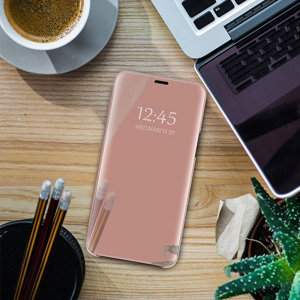 Husa Samsung Galaxy J6 Plus (+) 2018 Clear View Flip Standing Cover (Oglinda) Roz (Rose Gold)2