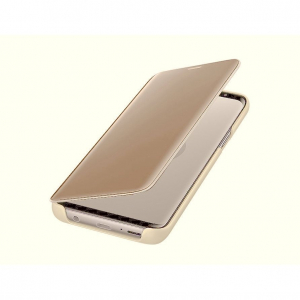 Husa Huawei Y5 2018 Clear View Flip Toc Carte Standing Cover Oglinda Auriu (Gold)2