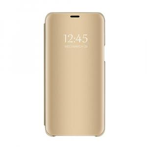 Husa Huawei Y5 2018 Clear View Flip Toc Carte Standing Cover Oglinda Auriu (Gold)0