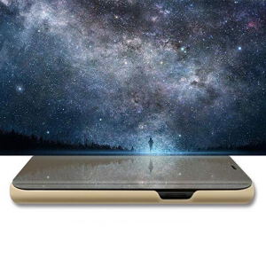 Husa Huawei Y5 2018 Clear View Flip Toc Carte Standing Cover Oglinda Auriu (Gold)3