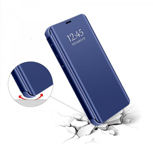 Husa Samsung Galaxy J6 Plus (+) 2018 Clear View Flip Standing Cover (Oglinda) Albastru (Blue)0