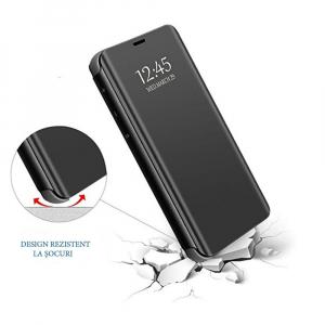 Husa Samsung Galaxy J6 Plus (+) 2018 Clear View Flip Standing Cover (Oglinda) Negru (Black)