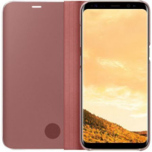 Husa Samsung Galaxy S9 Clear View Flip Standing Cover (Oglinda) Roz (Rose Gold)1