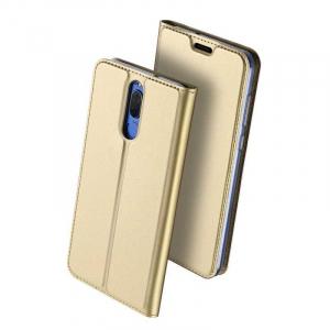 Husa Huawei Mate 10 Lite 2017 Toc Flip Tip Carte Portofel Auriu Gold Piele Eco Premium DuxDucis