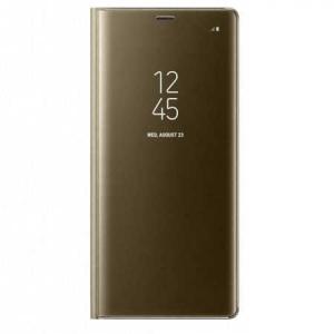 Husa Huawei Mate 10 Lite Clear View Flip Toc Carte Standing Cover Oglinda Auriu Gold0