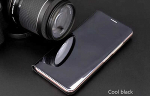Husa Huawei Mate 10 Lite Clear View Flip Toc Carte Standing Cover Oglinda Negru2