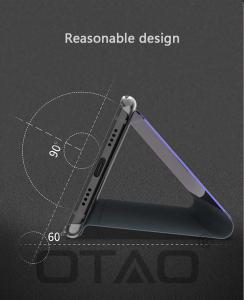 Husa Huawei Mate 10 Lite Clear View Flip Toc Carte Standing Cover Oglinda Negru5