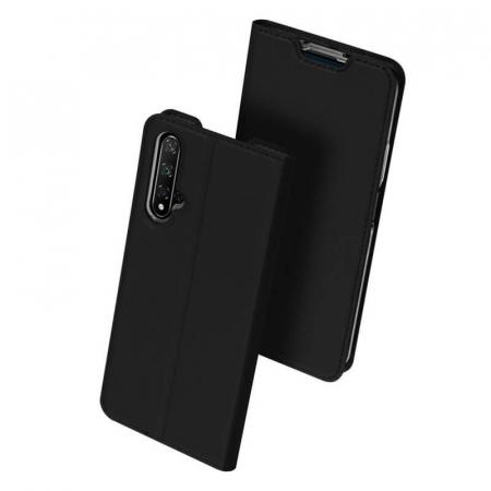 Husa Huawei Nova 5T 2019 Toc Flip Tip Carte Portofel Negru Piele Eco DuxDucis [0]