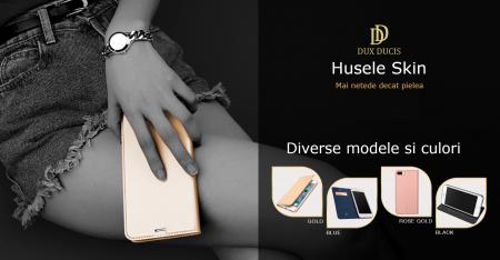 Husa Huawei P Smart 2019 Toc Flip Tip Carte Portofel Auriu Gold Piele Eco DuxDucis [6]
