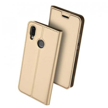 Husa Huawei P Smart 2019 Toc Flip Tip Carte Portofel Auriu Gold Piele Eco DuxDucis [0]