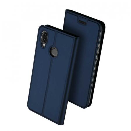 Husa Huawei P Smart 2019 Toc Flip Tip Carte Portofel Bleumarin Piele Eco DuxDucis0