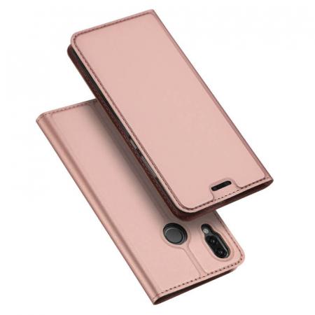 Husa Huawei P Smart Z 2019 Toc Flip Tip Carte Portofel Roz Piele Eco Premium DuxDucis4