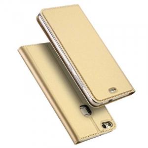 Husa Huawei P10 Lite 2017 Toc Flip Tip Carte Portofel Auriu Gold Piele Eco Premium DuxDucis4