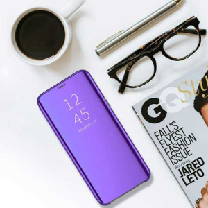 Husa Huawei P20 2018 Clear View Flip Toc Carte Standing Cover Oglinda Mov (Purple)3